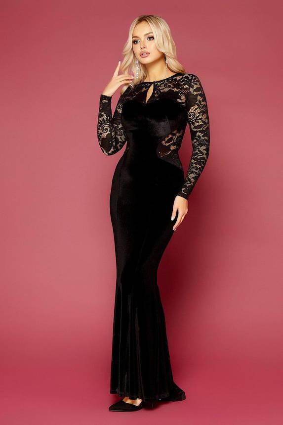 Велюровое вечернее платье в пол черное, M(46), фото 2
