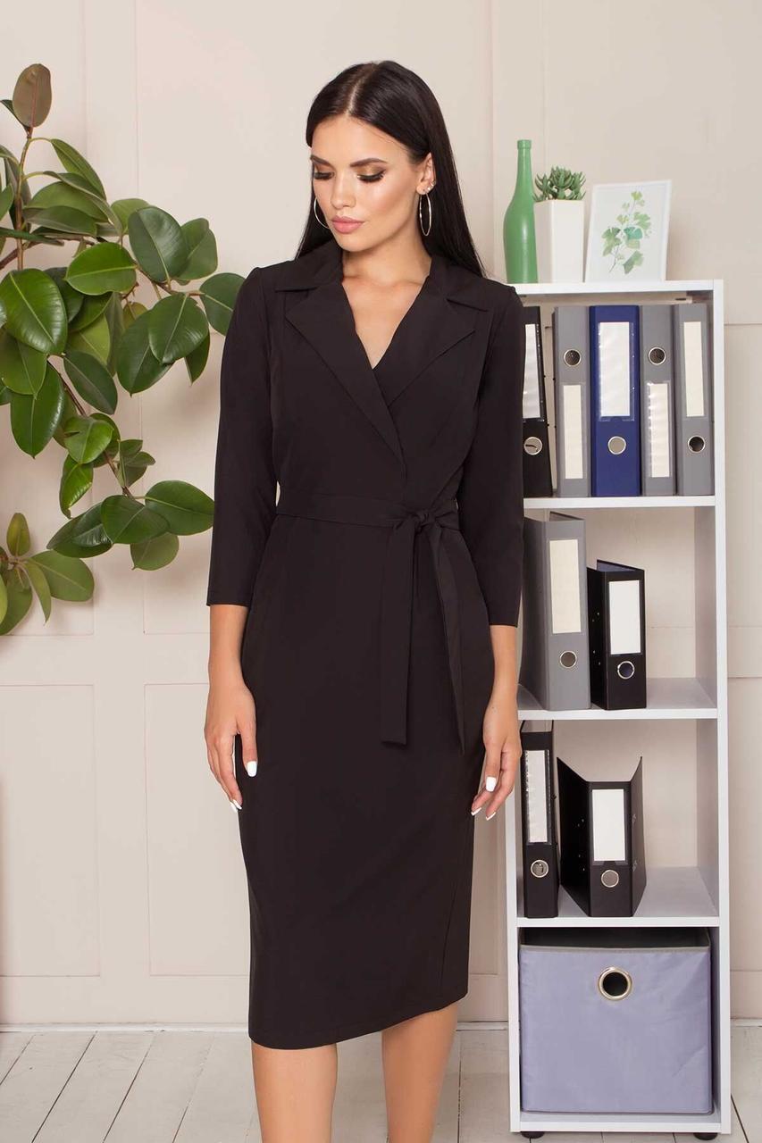 Деловое приталенное платье длиной миди черного цвета, S(44)