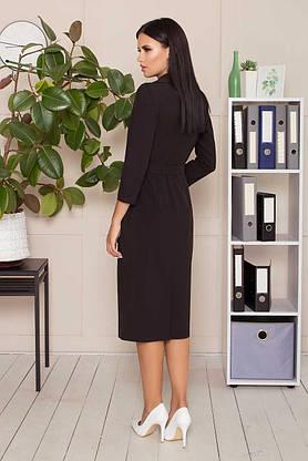Деловое приталенное платье длиной миди черного цвета, S(44), фото 2