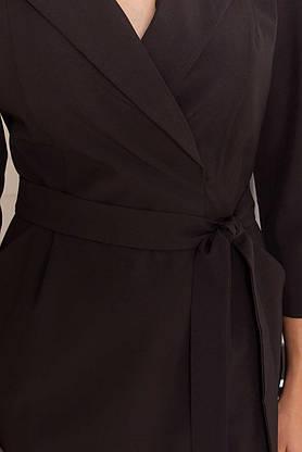 Деловое приталенное платье длиной миди черного цвета, S(44), фото 3