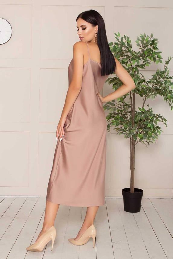Элегантное платье-комбинация шелковое в бельевом стиле капучино, M(46), фото 2