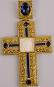 Хрест наперстный золоч. з синіми каменями 011