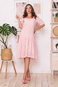 Свободное летнее платье оверсайз хлопковое из прошвы розовое, S(44)