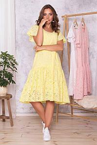Летнее платье оверсайз хлопковое из прошвы желтое, S(44)