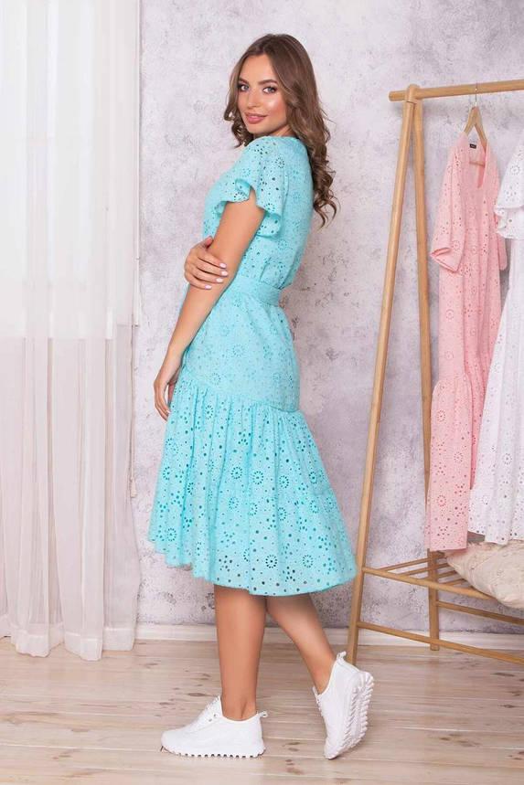 Летнее платье оверсайз хлопковое из прошвы голубое, S(44), фото 2