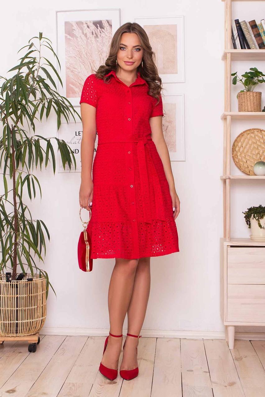 Красное летнее платье рубашка из прошвы, S(44)