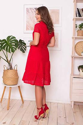 Красное летнее платье рубашка из прошвы, S(44), фото 3