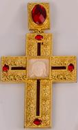 Крест наперсный  золоч. с красн. камнями 011