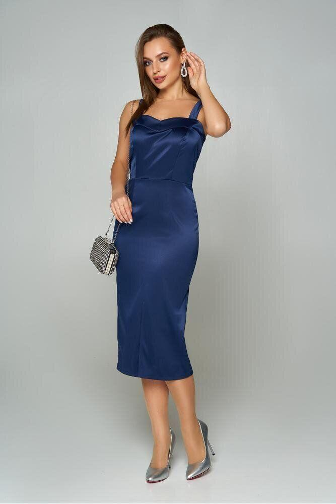 Коктейльное атласное платье футляр с открытыми плечами синее, S(44)