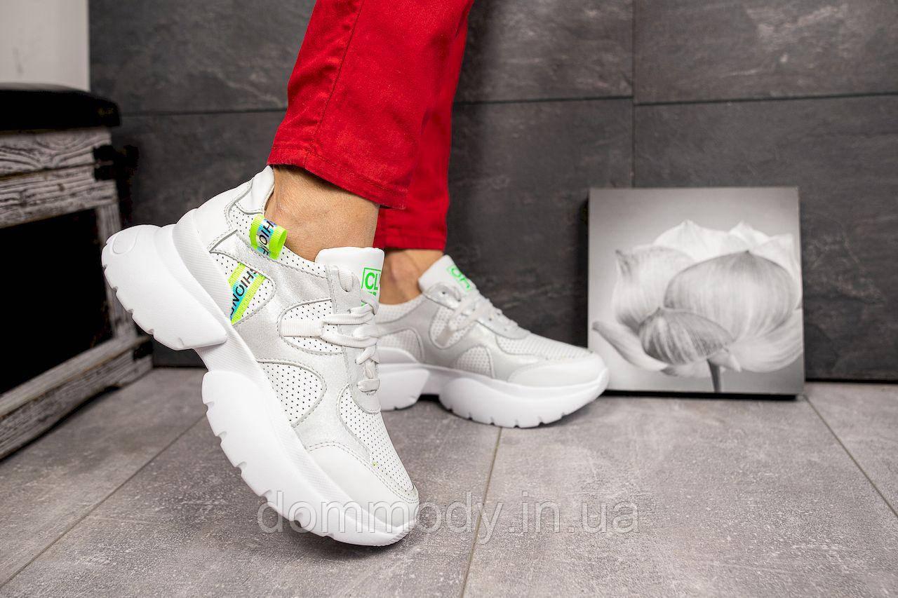 Кросівки жіночі бежево-білого кольору з перфорацією Fresh