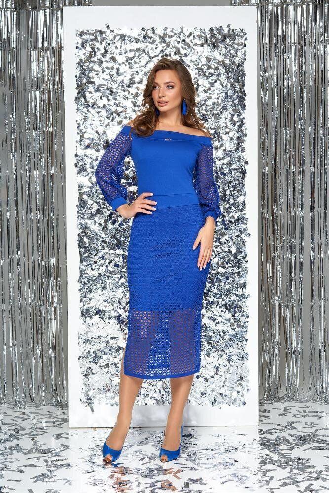 Нарядное облегающее платье с открытыми плечами голубое, S(44)