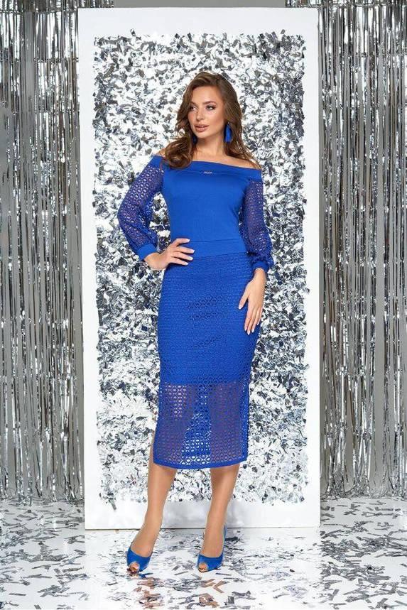 Нарядное облегающее платье с открытыми плечами голубое, S(44), фото 2