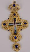 Хрест наперстный золоч. з синіми каменями 019