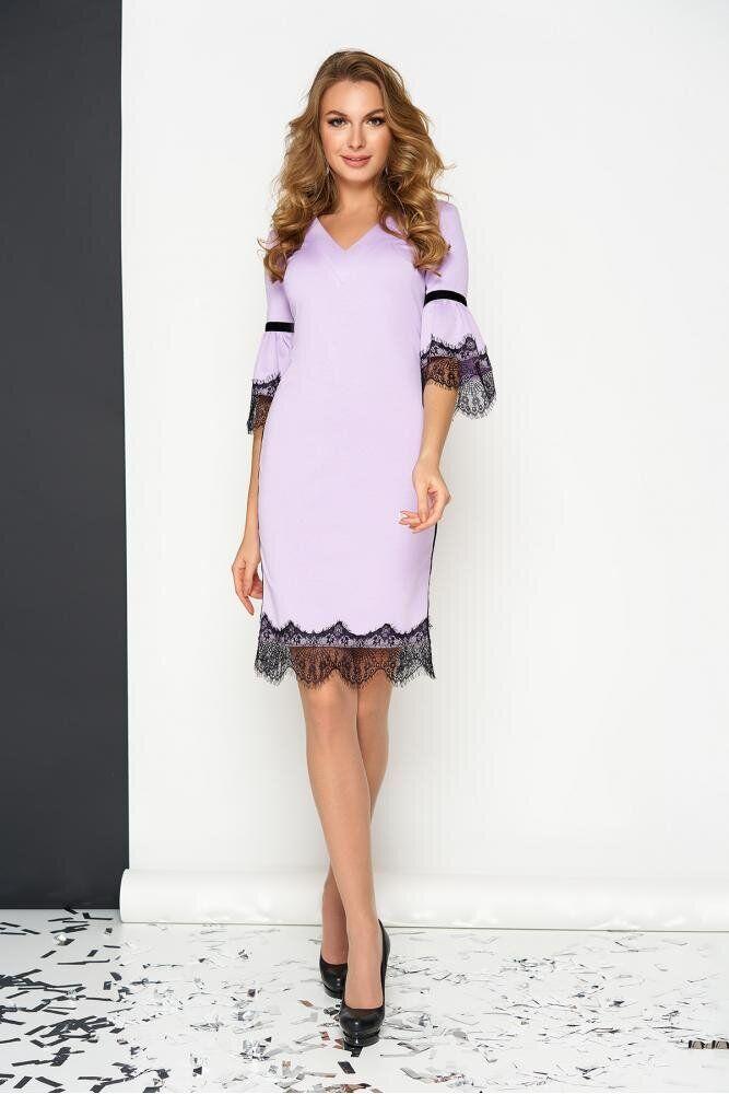 Красивое трикотажное платье футляр с кружевом сиреневое, S(44)
