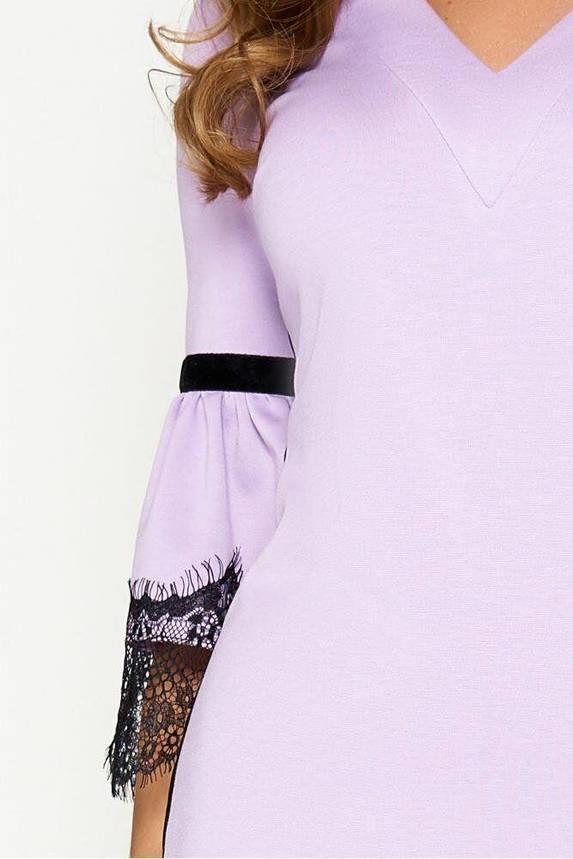 Красивое трикотажное платье футляр с кружевом сиреневое, S(44), фото 2