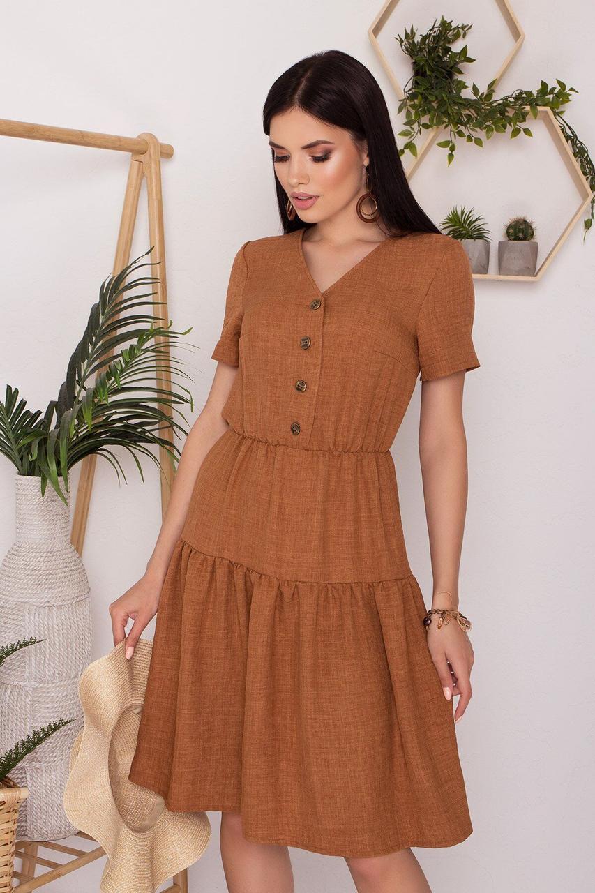 Приталенное летнее платье льняное бежевое, S(44)