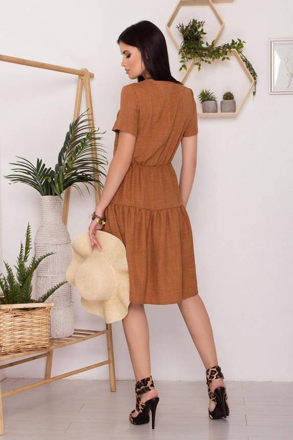 Приталенное летнее платье льняное бежевое, S(44), фото 2