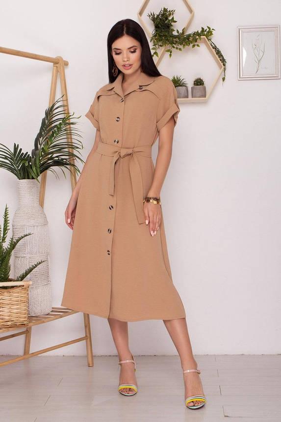 Стильное платье рубашка с коротким рукавом бежевое, S(44), фото 2