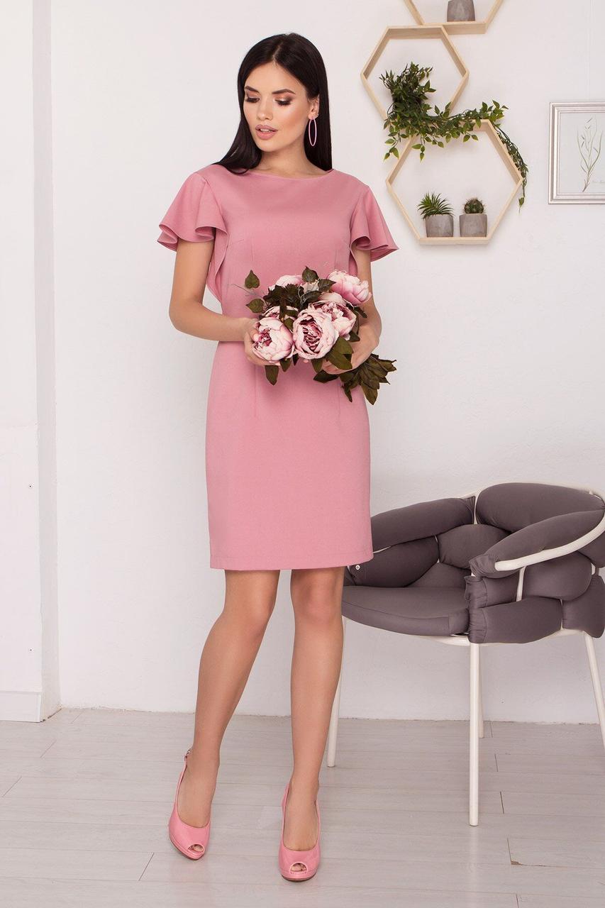 Стильное облегающее платье с воланами на рукавах розовое, S(44)