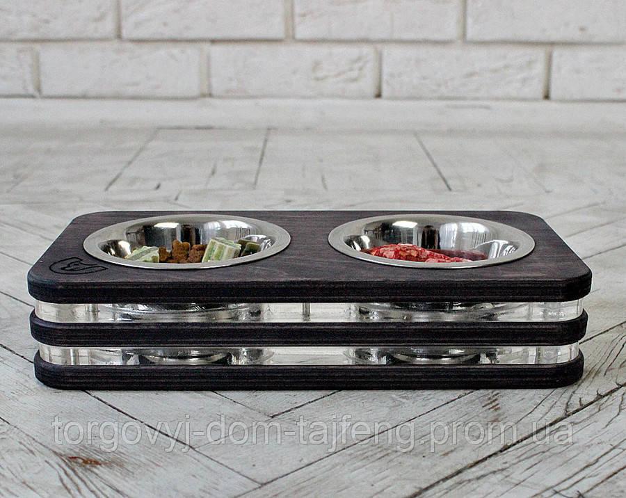 КІТ-ПЕС by smartwood Миски на подставке   Миска-кормушка металлическая для собак щенков  XS - 2 миски