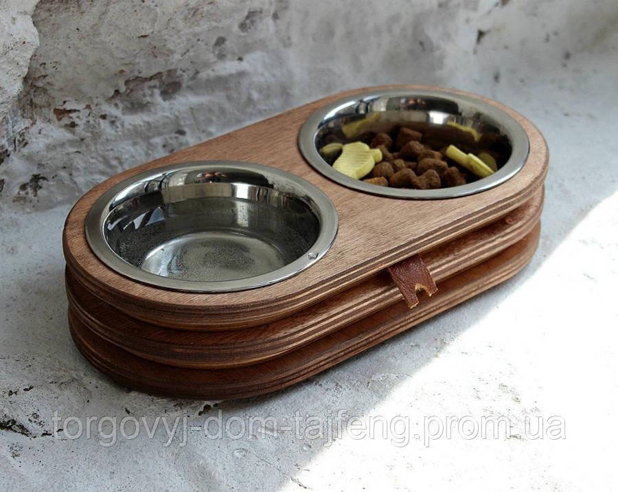 КІТ-ПЕС by smartwood Миски на подставке | Миска-кормушка металлическая для собак щенков  XS - 2 миски EBONY