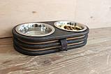 КІТ-ПЕС by smartwood Миски на подставке | Миска-кормушка металлическая для собак щенков  XS - 2 миски EBONY, фото 2