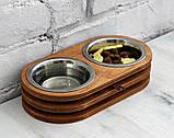 КІТ-ПЕС by smartwood Миски на подставке | Миска-кормушка металлическая для собак щенков  XS - 2 миски EBONY, фото 3