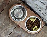 КІТ-ПЕС by smartwood Миски на подставке | Миска-кормушка металлическая для собак щенков  XS - 2 миски EBONY, фото 6