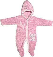 Дитячий теплий чоловічок зростання 56 0-2 міс махра рожевий на дівчинку сліп з капюшоном для новонароджених