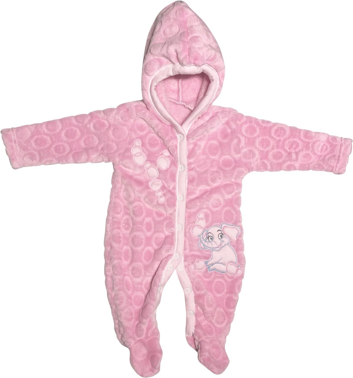 Детский тёплый человечек рост 62 2-3 мес махровый розовый на девочку слип с капюшоном для новорожденных малышей Д726