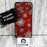 Чехол с рисунком для Huawei P Smart (FIG-LX1) Christmas Снежинка