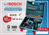 Шуруповерт ударний Bosch TSR12-2LI (12V 3Ah Li-Ion) с набором инструментов