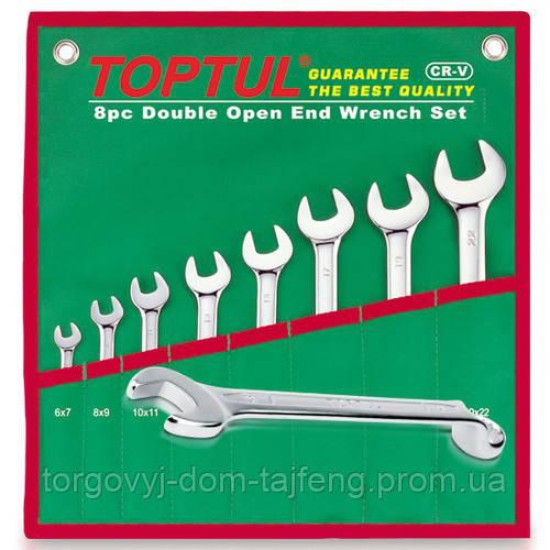 Набір рожково-накидних ключів TOPTUL (кут 75°) 8шт. 8-19мм в чохлі GAAA0815