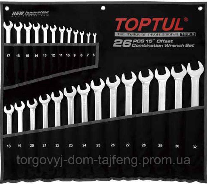 Набір ключів комбінованих 26 шт 6-32 мм TOPTUL подовжених GPAA2602
