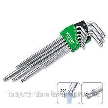 Набор ключей TORX Г-обр. T10-T50 TOPTUL 9ед. супердлинных с отверстием и шаром GAAL0928