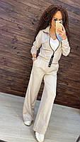 Женский стильный спортивно-повседневный костюм с широкими штанами (в расцветках)