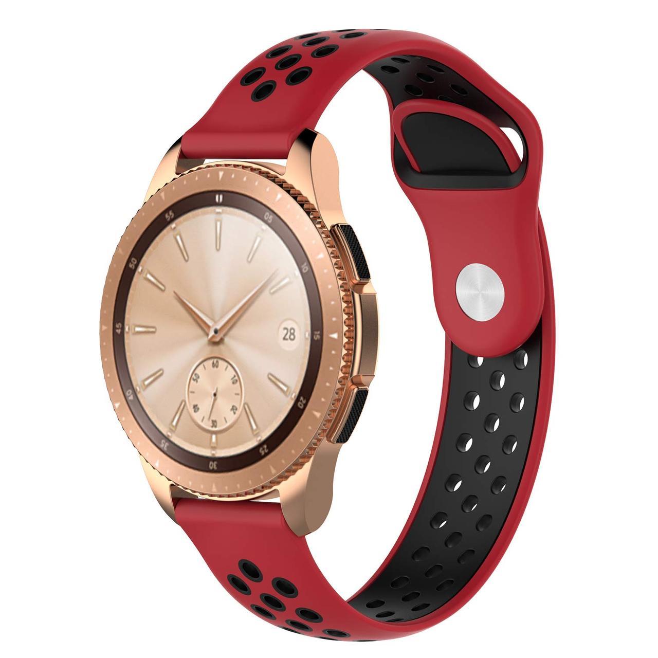 Ремешок BeWatch sport-style для Samsung Active| Active 2 | Galaxy watch 42 mm Красно-Черный (1010131)