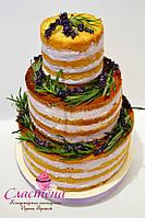 "Свадебный   торт  ""Naked cake"" с лавандой"