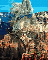 Картина по номерам Волк в каньоне, размер 40*50 см, зарисовка полная