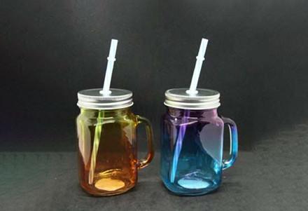 Скляний кухоль з кришкою і трубочкою Веселка OLENS 450мл