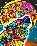 Картина по номерам Радужный волк, размер 40*50 см, зарисовка полная