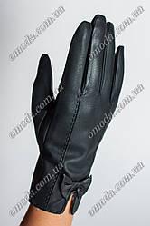 Женские зимние перчатки искусственная кожа бант