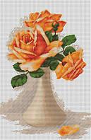 """Набор для вышивания крестом """"Luca-s"""" B505 Оранжевые розы в вазе"""