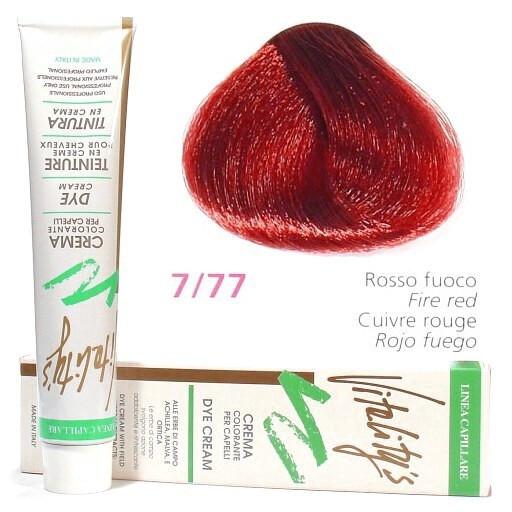 7/77 Краска для волос с экстрактами трав VITALITY'S Collection – Огненно-красный , 100 мл