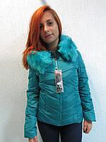 Куртка осенняя женская 831 голубой(бирюза) код 647а