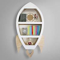 Дерев'яна полиця Космічна Ракета для іграшок і книг у дитячу кімнату. Розмір 78 х 46 див., фото 1