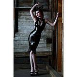 Черное шыкарное кожаное платье, фото 2