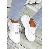 Женские белые кроссовки из натуральной кожи, фото 3