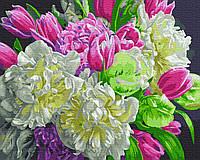 Картина по номерам Бело-розовые пионы, размер 50*40 см, зарисовка полная, фото 1