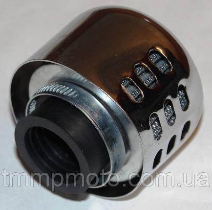 Фільтр нульового опору d=28mm з хромованим ковпачком, фото 2